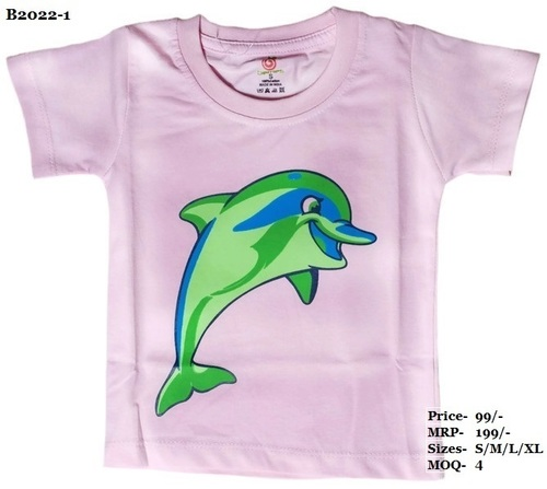 Kids Dolphin design printed T Shirts - Pink/Yellow/L. Green - Round Neck, Half Sleeve