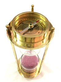 Brass Nautical Compass Hourglass Antique Sand Timer