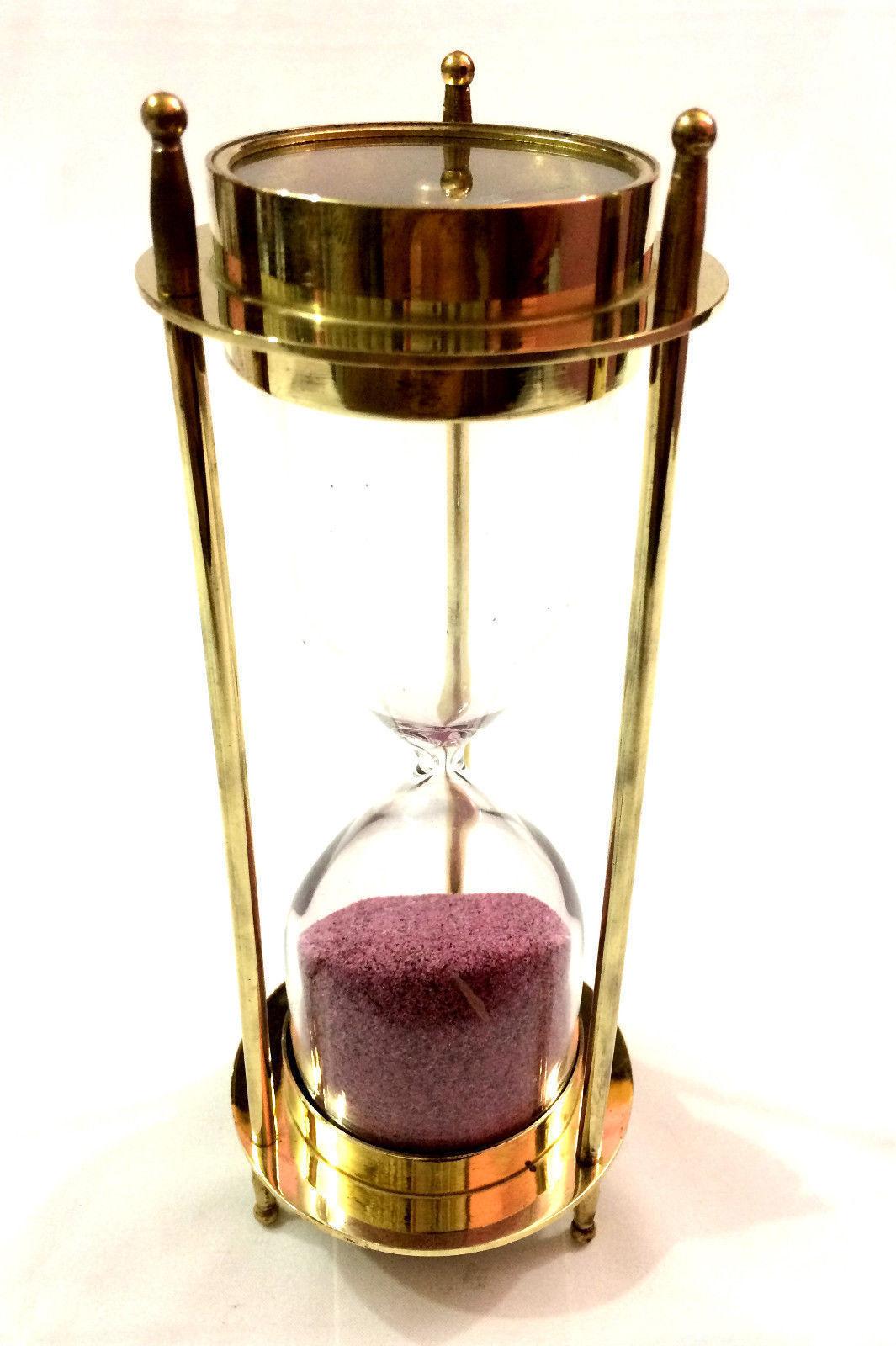 Brass Nautical Compass Hourglass Antique Sand Timer