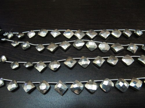Very Good Quality Natural Silver Pyrite Cushion Shape Beads