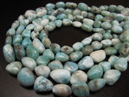Natural Free Shape Larimar Tumbled Plain Smooth Nugget Beads