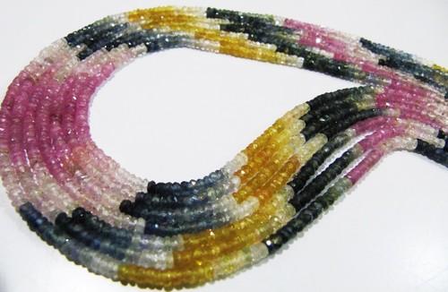 Top Quality Multi Sapphire Rondelle Shape Size 3 mm