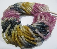 Top Quality Multi Sapphire Rondelle Shape Size 3.5 To 4 mm Beads