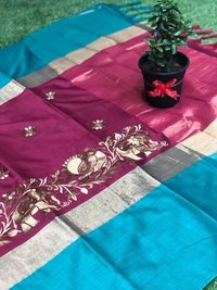 Banarasi Soft Silk With Beautiful Resham Embroidery Work with double colour and Design..(DNHSilk11)