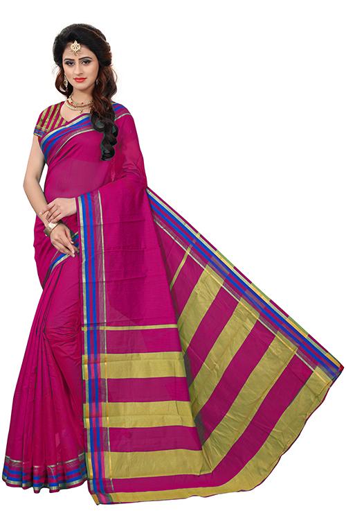 Fancy Strips Printed Silk Saree