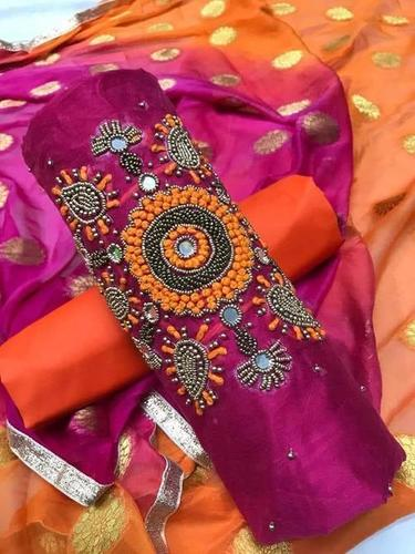 Chanderi with khatli work Unstitched Suit
