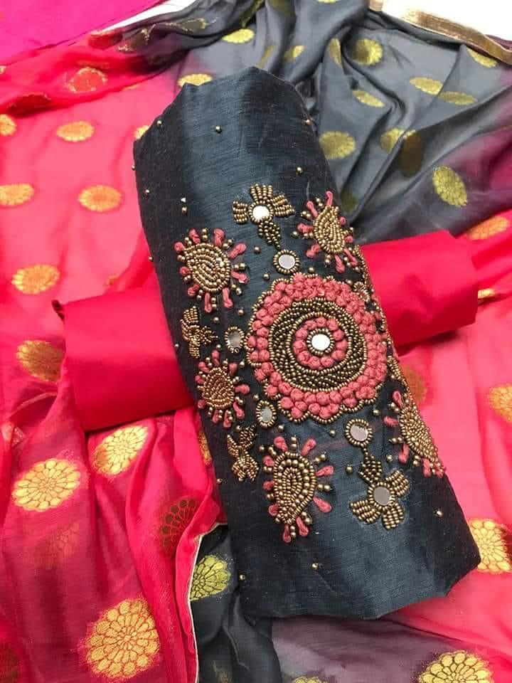 Chanderi with khatli work Unstitched Suit