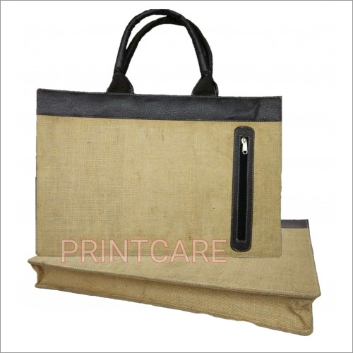 Jute Bag Leather Pocket