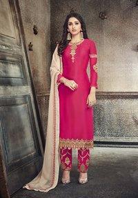 Partywear Embroidered Georgette Salwar Suit Heavy Dupatta