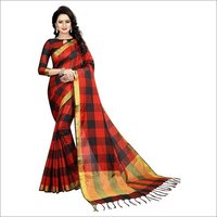 Cotton Silk Saree with Checks design