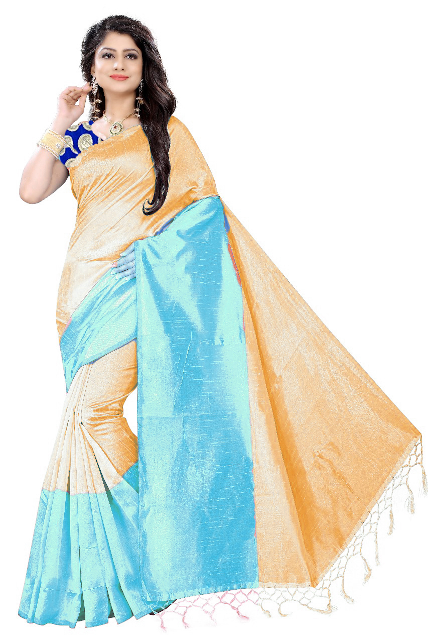 Cotton Silk Saree with Jhalar