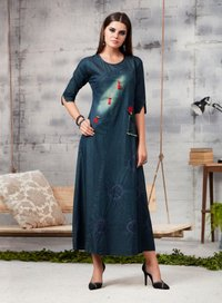 Latest Readymade Denim Gown