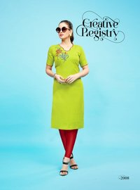 Cotton Slub Embroidery Moti Work Kurti