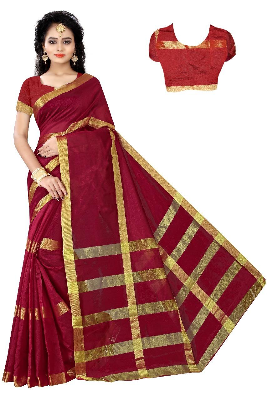 New Cotton silk Embroided Designer Saree