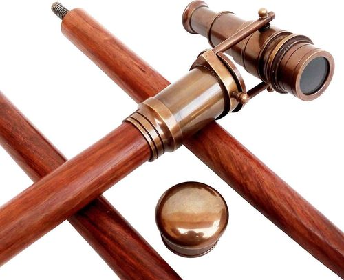 Vintage Wooden Walking Stick Antique Brass Telescope Head Walking Stick Cane