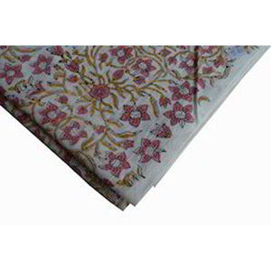 Hand Block Printed Cotton Floral Fabric Sanganeri Jaipuri Mughal Print Fabric