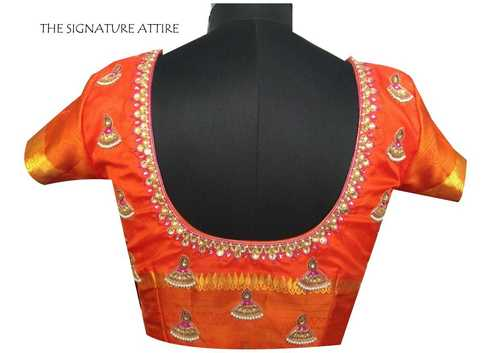 Silk Blouse with Threads and Pearls