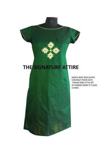 Green Cotton silk Kurti with work