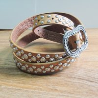 20MM Leather Belt with Small Rivets for Decoration(#006)