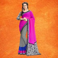 Georgette Printed Half & Half Saree