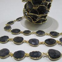 AAA Quality Natural Iolite Free Shape Faceted Briolette chain