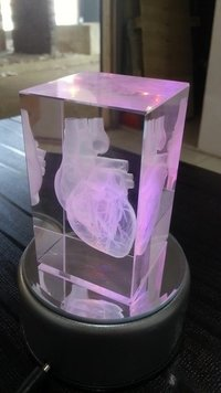 3D Human Heart Engraved in Crystal