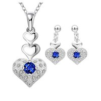 Rich Royal Heart Austrian Crystal Blue Silver Pendant Set