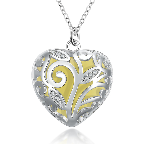Glow-In-The-Dark Heart of Winter Frozen Forest Silver Plated Pendant