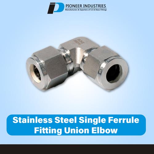 Stainless Steel Single Ferrule Fitting Union Elbow