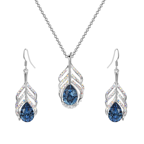 Crystals from Swarovski Krishna Peacock Feather Blue Crystal Pendant Set