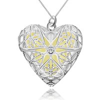 Glow-in-The-Dark Heart of Atlantis 925 Silver Plated (Hallmarked) Locket Cum Pendan