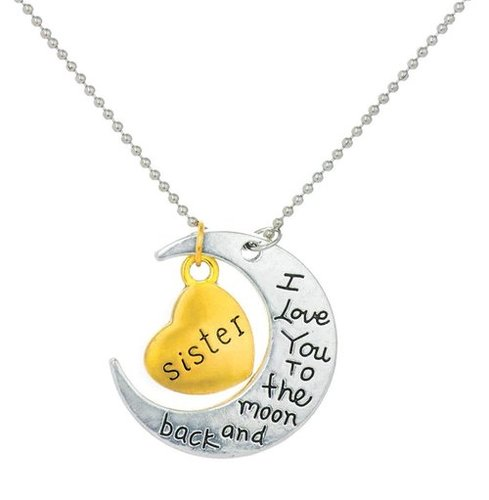 Sisters Love Special Moon Pendant in Metal. Perfect Gift for Sister!