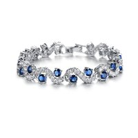 Rich Royal Blue Crystal High Grade CZ Chain Silver Bracelet