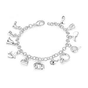 olly Charms 925 Silver Plated (hallmarked) Charm Bracelet