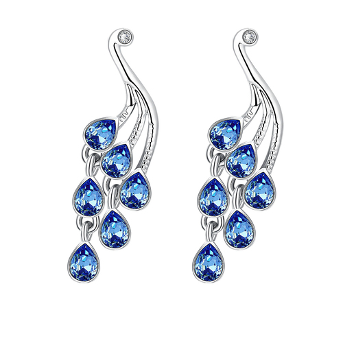 Mayur Blue Austrian Crystal Austrian Crystal Peacock Earrings