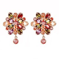 Double Flower Fine Work Swiss Cubic Zircon 18K Gold Plated Earrings