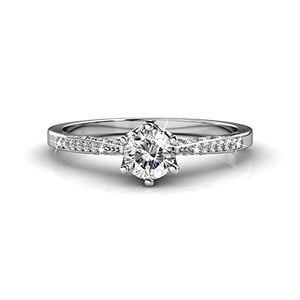 Crystals from Swarovski 18K White Gold Plated Silver Engagement