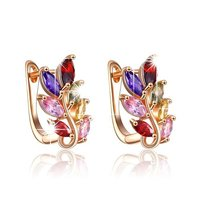 Colourful Leafy Swiss AAA Zircon Clip On Earrings for (Multi-Colour)