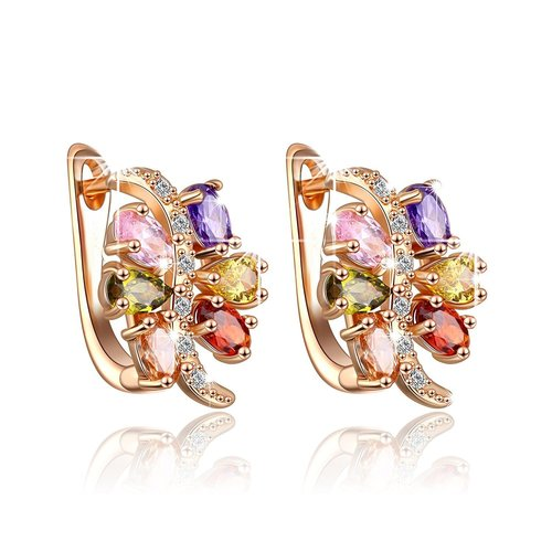 Colourful Petals Swiss AAA Zircon Clip On Earrings (Multi-Colour)