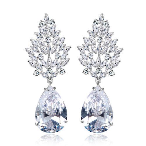A5 Grade Crystal White Diamond Classic Designer Crystal Earrings