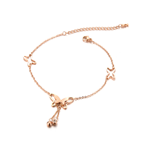 Golden Butterfly Rose Gold Plated Stainless Steel Anklet