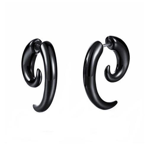 Curved Horn Bone Stainless Steel Black Studs