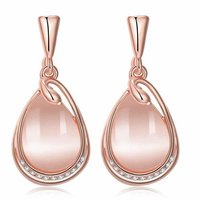 High Grade Austrian Crystal 18K Rose Gold Plated Designer Earrings