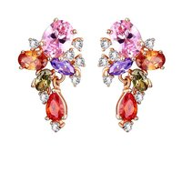 Swiss AAA Zircons Bouquet 18K Rose Gold Plated Earring