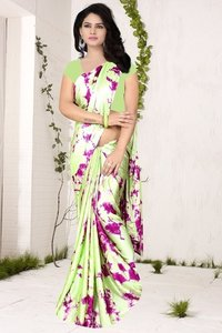 Designer Wear Printed Georgette & Satin Saree