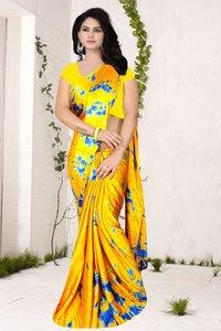 Designer Wear Printed Georgette & Satin Saree