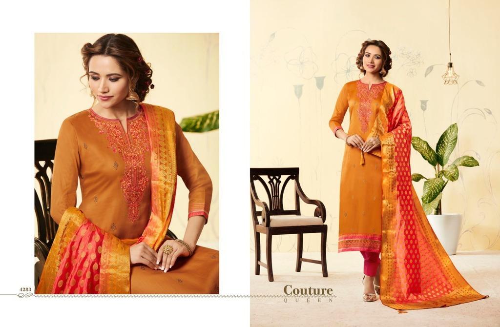 Designer Suits With Banarasi Silk Dupatta