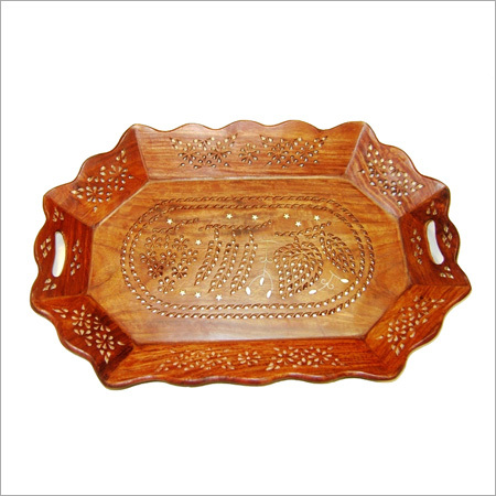 15X10 Oval Shape Wooden Tray