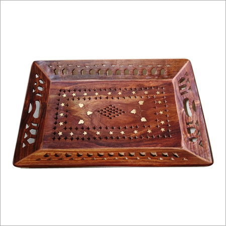 15X10 Jali Wooden Brass Tray