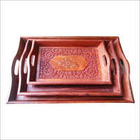 18X12 Wooden Brass Tray Set